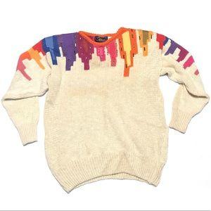 VINTAGE 80s Vibrant Colorful Art Deco Knit Sweater